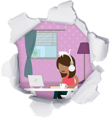 Homeoffice Frau Illustration
